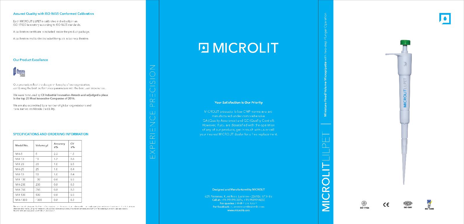 Micro Mini pipettor Fixed Volume Fully Autoclavable Li'lpet, 6 Sizes, 1 Pc/Pk 4