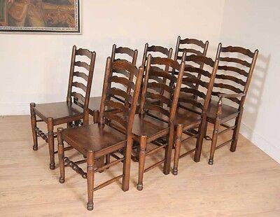 Set 8 Oak Ladderback Chairs Kitchen Dining Chair Farmhouse Furniture 8