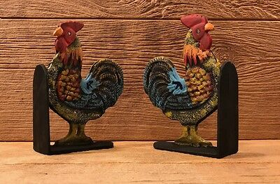 """Cast Iron Rooster Cookbook Bookends Set 8"""" tall Kitchen Decor 0170-04408 8"""