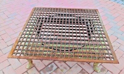 """Antique VICTORIAN 34 1/8"""" SQUARE CAST IRON FLOOR GRATE COCKTAIL TABLE TOP HEAVY 5"""