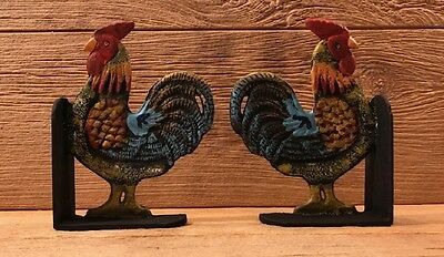"""Cast Iron Rooster Cookbook Bookends Set 8"""" tall Kitchen Decor 0170-04408 6"""