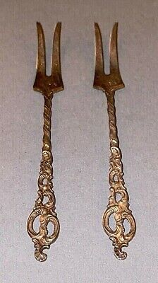 2 Vintage Ornate Sterling Silver Small Pickle Hors d'oeuvre Forks marked NORWAY 5