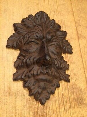 "Green Man Leafy Tree Man Solid Cast Iron 10"" Wall Plaque Sculpture 0170-05631 2"