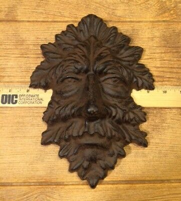 "Green Man Leafy Tree Man Solid Cast Iron 10"" Wall Plaque Sculpture 0170-05631 7"