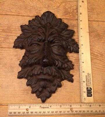 "Green Man Leafy Tree Man Solid Cast Iron 10"" Wall Plaque Sculpture 0170-05631 6"