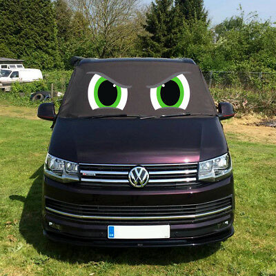 VW Transporter T6 Front Window Screen Cover Black Out Blind Frost Eyes Green 4
