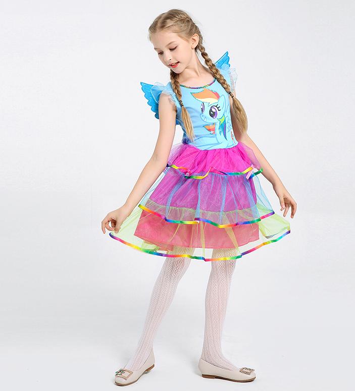 My Little Pony Rainbow Dash Fancy Dress Costume headband Removable wings 3-7