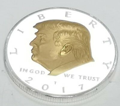 Donald Trump Silver & Gold Dollar City Coin President of the United States Man 9
