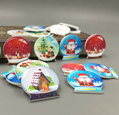 DIY 25X Wooden Crystal ball shape Christmas pattern Mix Sewing Scrapbooking 30mm 5