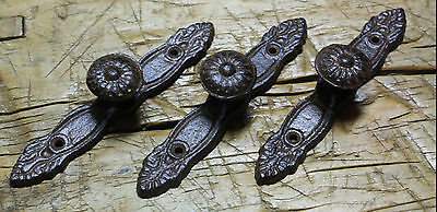 6 Cast Iron Antique Style Barn Handle Drawer Pull Shed Door Handles BACK PLATE 2