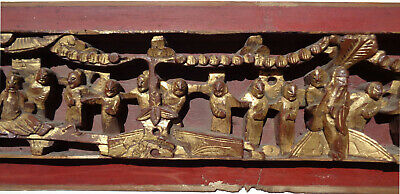 Antique CHINESE figural HIGH RELIEF wood PANEL gold RED 25 inches 4