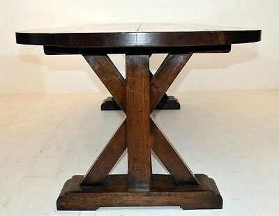 8 Of 12 English Oak Refectory Table Farmhouse Furniture Trestle Tables