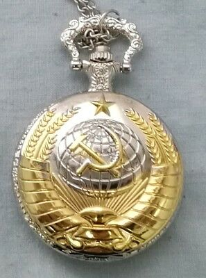 Soviet Pocket Watch Necklace Mens Clock Union USSR Moscow Vintage Putin Russia 2