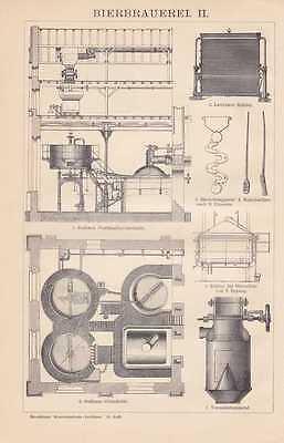 Bierbrauerei Brauerei Bier Sudhaus HOLZSTICHE + Text von 1898 Maismaschine 2