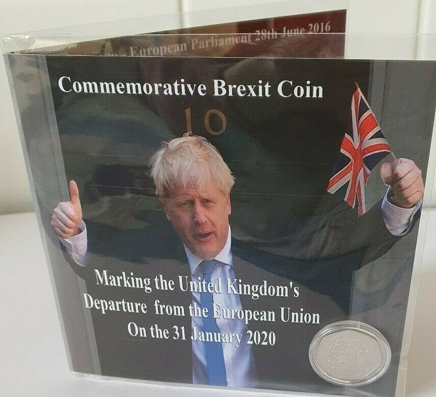 Brexit Limited Edition Commemorative Coin Holder + Uncirculated Brexit Coin 2020 2