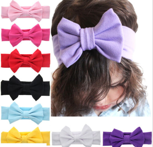 Toddler Girls Kids Baby Big Bow Hairbands Headband Stretch Turban Knot Head  HGU 2