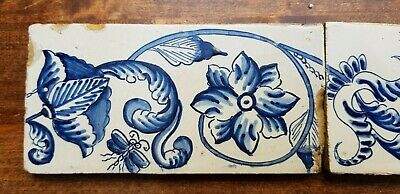 6 Antique Dutch Delft Edge Fireplace Floral Tiles and 1 with dog 3