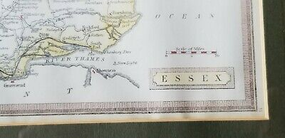 Antique ESSEX England Map Framed c1880 From Harrah's Framed/Glass 5