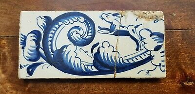 6 Antique Dutch Delft Edge Fireplace Floral Tiles and 1 with dog 2