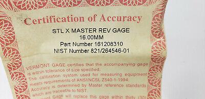 Vermont 161208310 STL X Master Rev. Round Gage Block 16.00mm.  shelf-t3 blue#2 3