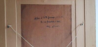 """HUILE SUR PANNEAU signée L. Lorrain """" LA CHAUMIERE """" Vers 1940, Renvoi au dos"""