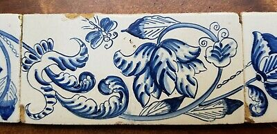 6 Antique Dutch Delft Edge Fireplace Floral Tiles and 1 with dog 6