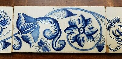 6 Antique Dutch Delft Edge Fireplace Floral Tiles and 1 with dog 5