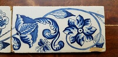 6 Antique Dutch Delft Edge Fireplace Floral Tiles and 1 with dog 7