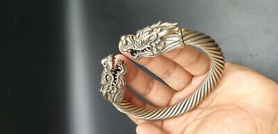 Very Antique Excellent Old  Dragon Animals Head Wonderfull Sliver Plated Bangle 6