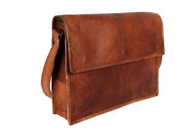 Old Vintage Brown Real Leather Messenger Satchel Shoulder Laptop Bag Briefcase