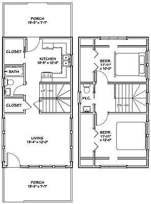 Model 3F 705 sq ft PDF Floor Plan 16x30 House