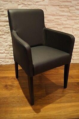 schwarz echt leder esszimmerst hle mit armlehnen stuhl. Black Bedroom Furniture Sets. Home Design Ideas