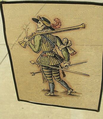 Antique Stained Glass German Military Lansquenet Foot Soldier Hand Painted 4