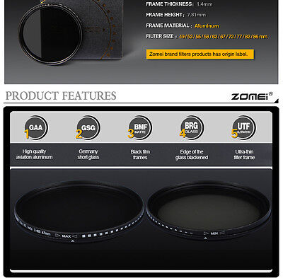 ZOMEI 52/55/58/62/67/72/77/82mm Adjustable Neutral Density Fader  filter ND2-400 6