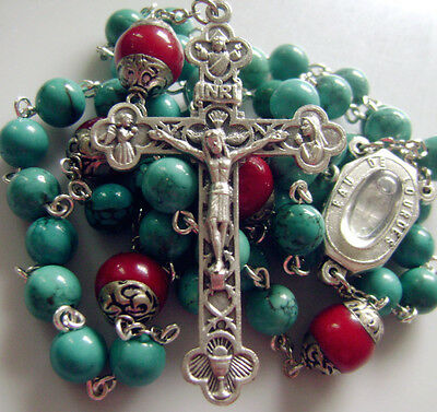 Natural Turquoise & Coral beads Lourdes Water Rosary Cross crucifix Necklace 2