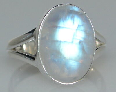925 Sterling SILVER Rainbow Moonstone Ring Real Gemstone Jewellery, Sizes L to Z 7