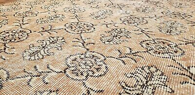 """Rare 1930-1939s Antique Wool Pile 7'3""""× 10""""4"""" Muted Dye Primitive Oushak Rug 5"""