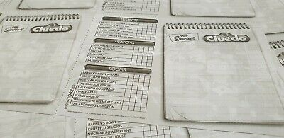 Newspaper Grey The Simpsons Cluedo Detective Spare Sheets 2 Sheets =16 Cards