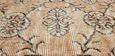 """Rare 1930-1939s Antique Wool Pile 7'3""""× 10""""4"""" Muted Dye Primitive Oushak Rug 4"""