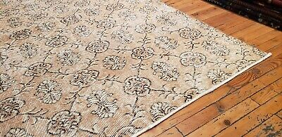 """Rare 1930-1939s Antique Wool Pile 7'3""""× 10""""4"""" Muted Dye Primitive Oushak Rug 3"""