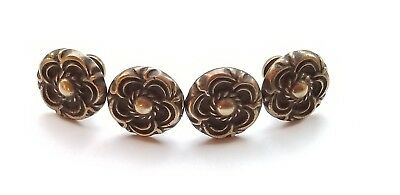 4 Antique Vintage Style French Provincial Brass Floral Knobs Pulls Handles #K19