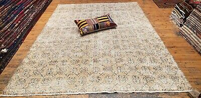 """Rare 1930-1939s Antique Wool Pile 7'3""""× 10""""4"""" Muted Dye Primitive Oushak Rug 8"""