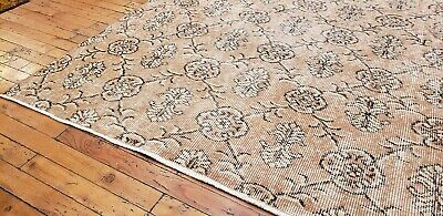 """Rare 1930-1939s Antique Wool Pile 7'3""""× 10""""4"""" Muted Dye Primitive Oushak Rug 2"""