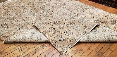 """Rare 1930-1939s Antique Wool Pile 7'3""""× 10""""4"""" Muted Dye Primitive Oushak Rug 9"""