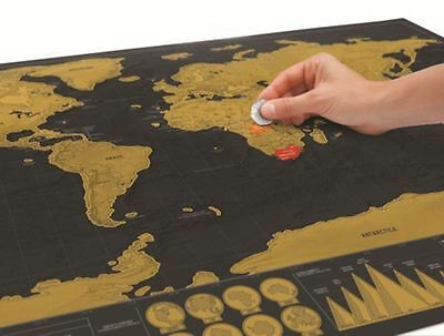 Deluxe Travel Edition Scratch Off World Map Poster Personalized Journal Log Gift 2