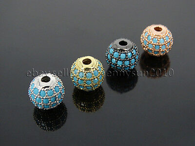 Zircon Gemstones Pave Turquoise Round Ball Bracelet Connector Charm Spacer Beads 3