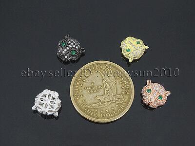 Zircon Gemstones Pave Leopard Head Bracelet Connector Charm Beads Silver Gold 4