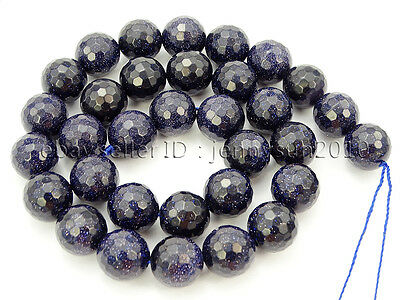 Blue Sand Stone Gemstone Faceted Round Spacer Loose Beads 15''  8mm 10mm 12mm