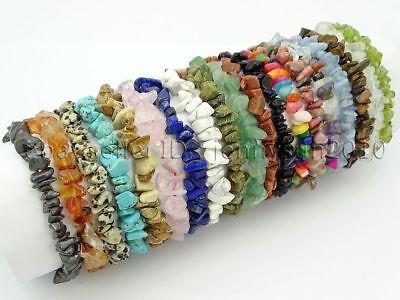 Natural Gemstone 5-8mm Chip Beads Stretchy Bracelet Healing Reiki Chakra 3