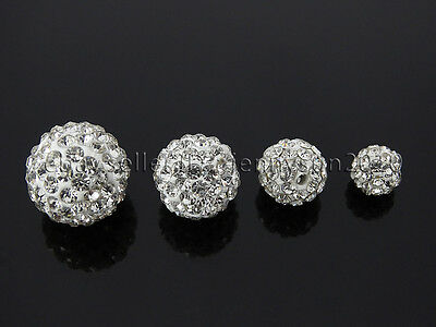 10Pcs Quality Czech Crystal Rhinestones Pave Clay Round Disco Ball Spacer Beads 3